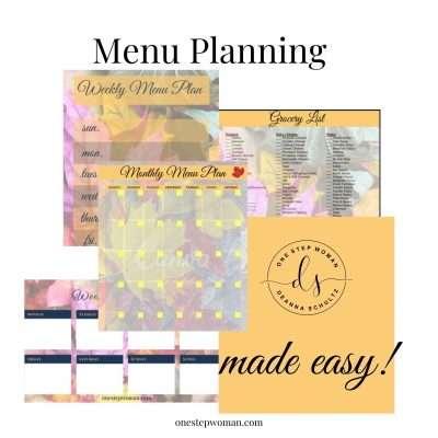 Menu Planning   One Step Woman
